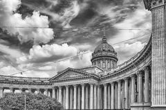 Facade and colonnade of Kazan Cathedral in St. Petersburg, Russi Stock Photography