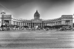 Facade and colonnade of Kazan Cathedral in St. Petersburg, Russi Royalty Free Stock Photos
