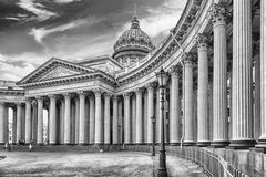 Facade and colonnade of Kazan Cathedral in St. Petersburg, Russi Stock Images