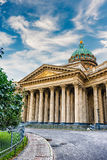 Facade and colonnade of Kazan Cathedral in St. Petersburg, Russi Royalty Free Stock Image