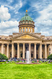 Facade and colonnade of Kazan Cathedral in St. Petersburg, Russi Royalty Free Stock Photography