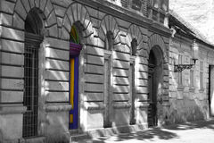 Facade with colored door Stock Photo
