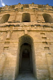 Facade of the Colosseum in El Jem Royalty Free Stock Photography