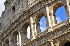 Colosseum, Rome. Facade of the Colosseum or Flavian Amphitheatre, Rome royalty free stock photo