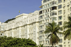 Facade of the Copacabana Palace Hotel, whose design was based on the style of hotels in the French Riviera, built in the 1920s stock images