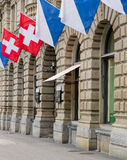 Facade of the Credit Suisse headquarters decorated with flags Royalty Free Stock Photo