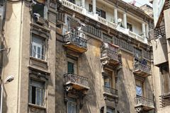 Facade and damaged balconies Royalty Free Stock Photo