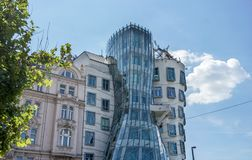 Dancing house in Prague. Facade of the dancing house in Prague, Czech Republic Stock Images