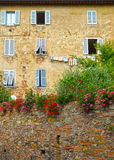 Facade decorated with flowers Royalty Free Stock Image