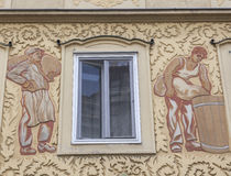Facade decoration in Vienna, Austria. Facade decoration at the bakery shop royalty free stock image