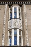 Jugendstil architecture in Helsinki. Facade decoration detail of a Jugendstil residential building by architect Oscar Bomanson 1914 on Kirkkokatu street in stock photos