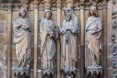 Facade decoration of the Reins Cathedral. France Stock Images