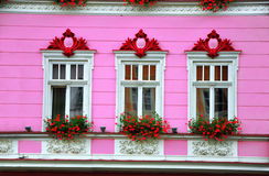 Facade decoration. White windows with flowers on pink wall. Beautiful facade decoration. White windows with flowers on pink wall Royalty Free Stock Images