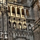 Facade detail of the Cathedral of Santa Maria, Toledo (Spain). Sculptures detail at facade of the Cathedral of Santa Maria, Toledo (Spain stock images