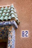 Facade detail of Maroccan house. Detail of facade and a door of Maroc house in the Median of Marrakech. Number of the house is 82 Stock Photography