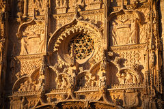 Facade detail of San Pablo church, Valladolid. Facade of San Pablo church at sunset. Gothic style. Built between 1445-1616 Its the most representative building Stock Images