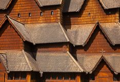 Heddal Stave Church facade Telemark Norway Scandinavia. Facade detail of 13th century wooden Heddal Stave Church, the largest remaining stave church in Norway stock image