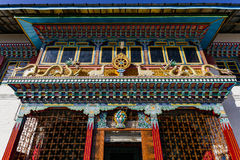 Facade detail of Tibetan Buddhism Temple in Sikkim, India royalty free stock image