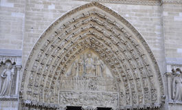 Facade Details of Notre Dame de Paris Cathedral in stock image