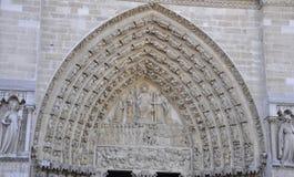 Facade Details of Notre Dame de Paris Cathedral in Stock Image