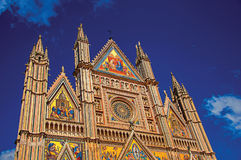 Facade details of the opulent and monumental Orvieto Cathedral in Orvieto. Royalty Free Stock Image