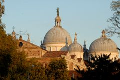 Facade and dome of Santa Giustina sunlit in Padua in Veneto (Italy) Stock Image