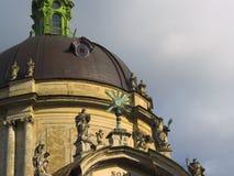 Facade of Dominican Church. Center of the town Lviv. Ukraine Royalty Free Stock Photo