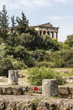 Facade of the Doric temple of Hephaestus in Ancient Agora, Athens, Greece Royalty Free Stock Images