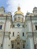 Facade of the Dormition cathedral. The Kiev-Pecherskaya Laura (or Kiev Laura of the Caves) is the monastery of the highest rank in Ukraine, based in 1051 royalty free stock image