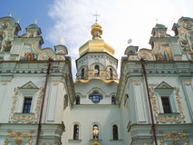 Facade of the Dormition cathedral. The Kiev-Pecherskaya Laura (or Kiev Laura of the Caves) is the monastery of the highest rank in Ukraine, based in 1051 stock photo