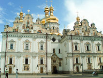 Facade of The Dormition Cathedral. Dormition Cathedral of The Kiev Laura of the Caves. (The Kiev-Pecherskaya Laura is the monastery of the highest rank in stock photography