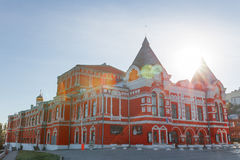 Facade of the drama theater in Samara in Russia. Town landscape with historic theater and blue sky Stock Photos