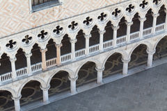 Facade of the Ducal Palace in Venice from above. Facade and arcades of the Ducal Palace in Venice, Italy Royalty Free Stock Photos
