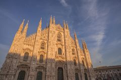The Duomo, Cathedral of Milan-Italy. External facade of Duomo Cathedral of Milan in a sunny day royalty free stock images