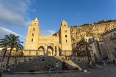 Facade of the Duomo di Cefalu cathedral in Cefalu, Sicily, Italy Stock Photo
