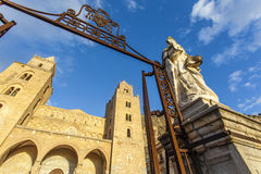 Facade of the Duomo di Cefalu cathedral in Cefalu, Sicily, Italy Stock Image