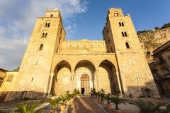 Facade of the Duomo di Cefalu cathedral in Cefalu, Sicily, Italy Stock Photos