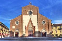 Facade of Duomo di Saluzzo, Italy. Stock Image
