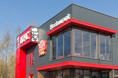 Facade of Dutch KFC fastfood restaurant in Lelystad Royalty Free Stock Photos