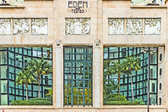 Facade of Eden Theater in Lisbon Stock Images