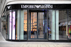 Facade of Emporio Armani store in the street of Vienna Royalty Free Stock Images