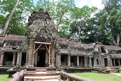 Facade and entrance of Ta Prohm temple in Cambodia Royalty Free Stock Photography