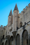 Palace of the Popes Avignon France. Twin spiral towers guard the entrance to the medieval castle known as the Palace of the Popes Palais des Papes located in Stock Photos
