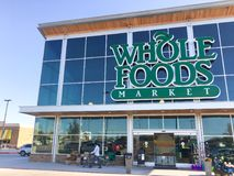 Facade entrance to Whole Foods Market store in Irving, Texas, US Royalty Free Stock Photography