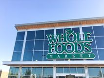 Facade entrance to Whole Foods Market store in Irving, Texas, US Stock Photography