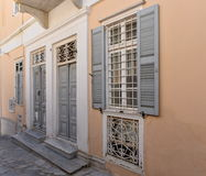 Facade in Ermoupoli Syros, Greece. This is the facade of a building in Ermoupoli on the island of Syros, Greece royalty free stock images
