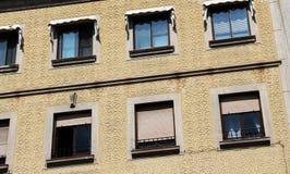 Facade in esgrafiado style, segovia, spain. A detail of the facade of an ancient house in segovia, spain, with the characteristic decoration called esgrafiado royalty free stock image