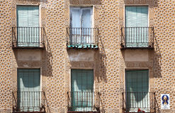 Facade in esgrafiado style, segovia, spain. A detail of the facade of an ancient house in segovia, spain, with the characteristic decoration called esgrafiado royalty free stock photography