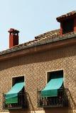 Facade in esgrafiado style, segovia, spain. A detail of the facade of an ancient house in segovia, spain, with the characteristic decoration called esgrafiado stock photo