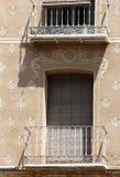 Facade in esgrafiado style, segovia, spain. A detail of the facade of an ancient house in segovia, spain, with the characteristic decoration called esgrafiado royalty free stock photo